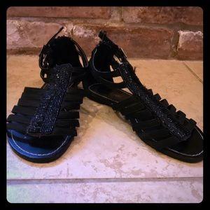 Bamboo Black Gladiator Sandal - Size 5.5